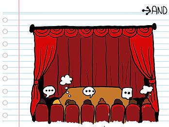 audience at a theatre peformance with thinking bubbles
