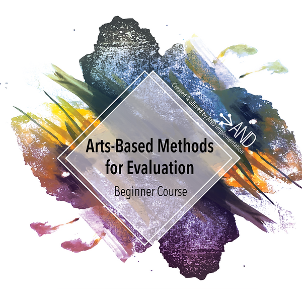"""paint splatter with course title, """"Arts-Based Methods for Evaluation: Beginner Course"""""""