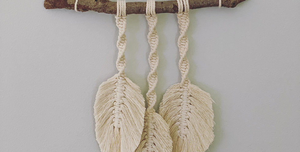 Small Boho Style Feather Wall Hanging