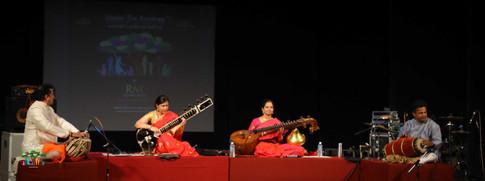 Jayanthi Kumaresh (veena) with accompanist Arjun Kumar & Anupama Bhagwat (sitar) with accompanist Rajendra Nakod