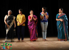 The cast of On My Own with the Director Arundhati Raja
