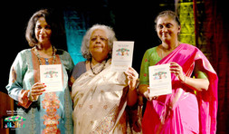 Poile Sengupta, playwright, novelist & poet, & Dr. Mamatha Gowda, DC Ramanagara releases the souvenir of the festival, with Festival Director Sandhya Mendonca