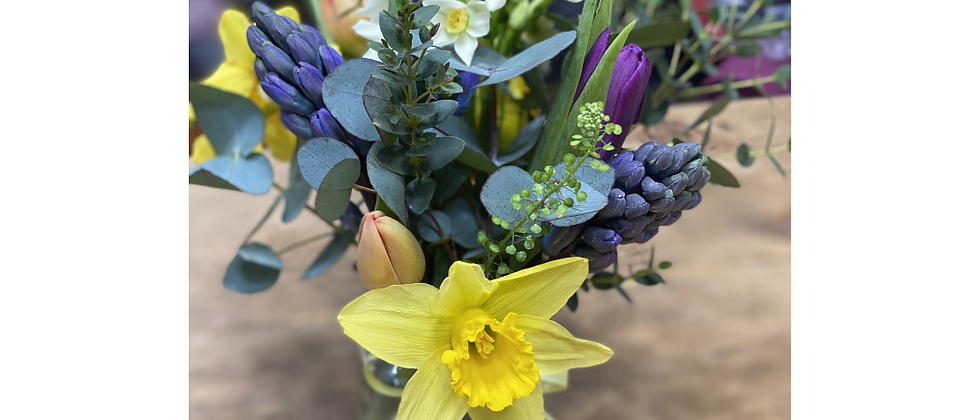 Posy jar of Spring flowers