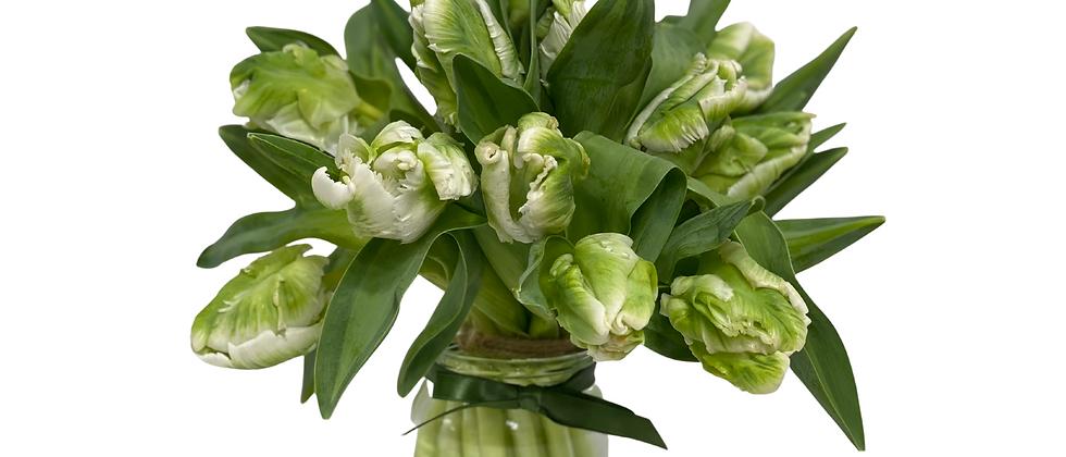Posy jar of Parrot Tulips