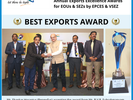 RenewSys Wins 'Best Exports' Award - SEZ