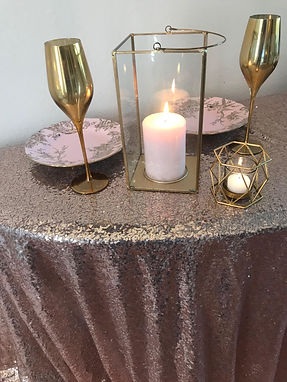 Blush Sequin Table Overlay