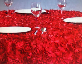 Red Rosette Table Cloth