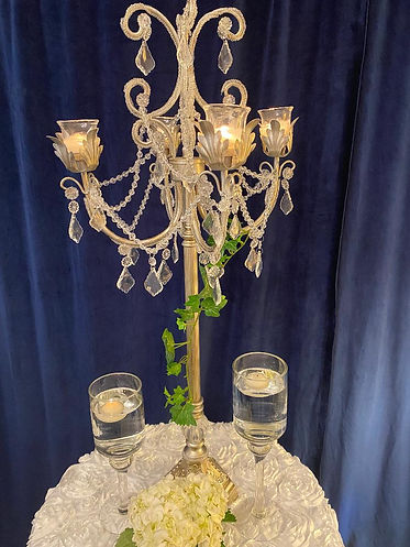 silver tall candelabra with floating can