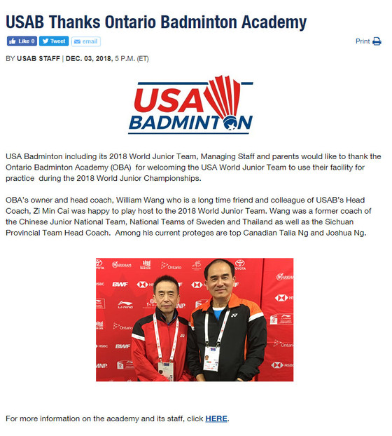 USA Badminton Thanks OBA