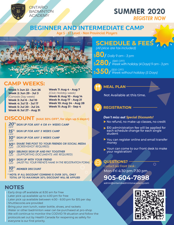 Summer Camp 2020 Starts Registration Now!