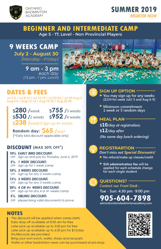Summer Camp 2019 Starts Registration Now!