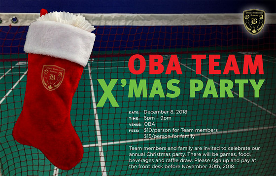Team Member and family are invited to join OBA TEAM X'MAS PARTY!