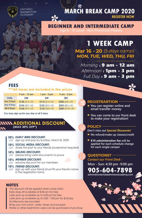 March Break Camp 2020 start register now🏆🏆🏆🏆