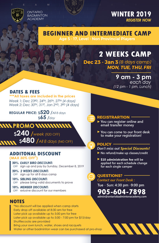 🏸🏸 2 DAYS LEFT🏸🏸Winter camp 2019-2020 start register now🏆🏆🏆🏆Don't miss out early bird sp