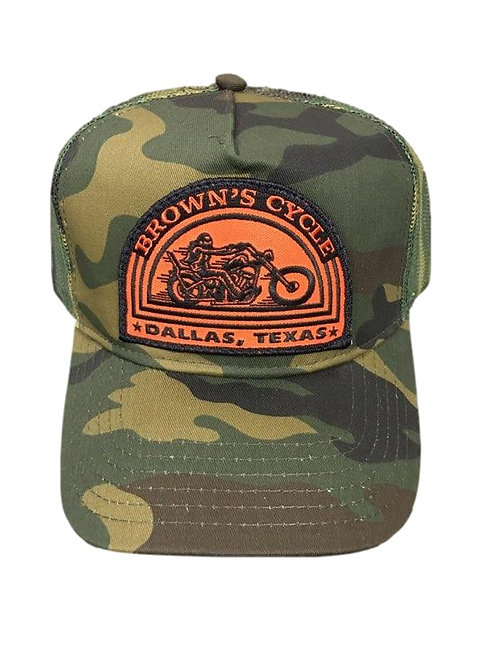 Brown's Cycle Camo/Orange Patch Trucker Hat
