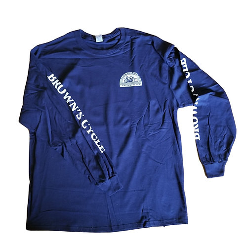 Brown's Cycle Long Sleeve T-Shirt - Blue