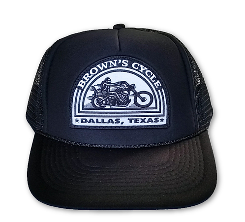 Brown's Cycle White Patch Trucker Hat