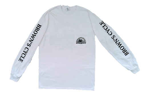 Brown's Cycle Long Sleeve Pocket T-Shirt -White