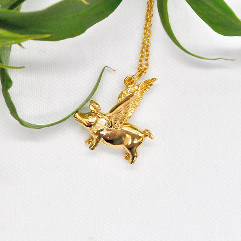 Flying Pig - 18ct Gold Plated