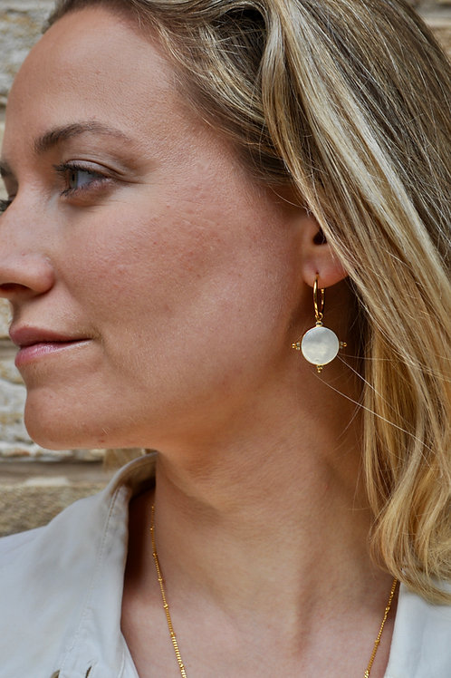 Pearl Compass Earrings