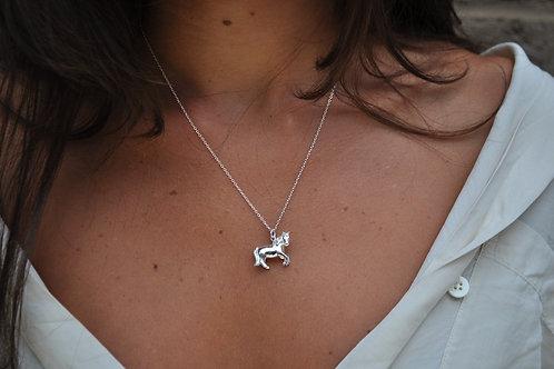 Rhodium Pony Necklace