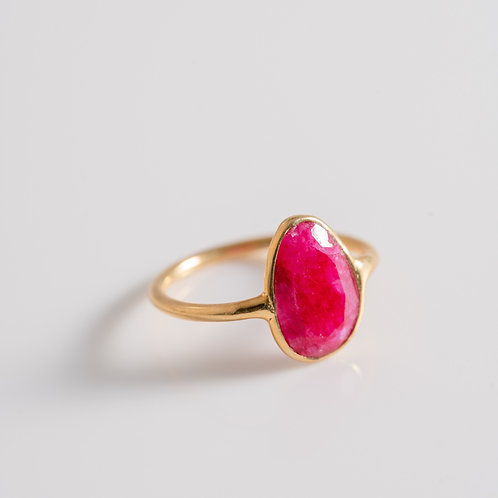 Ruby Ice Gem - 18ct Plated Gold