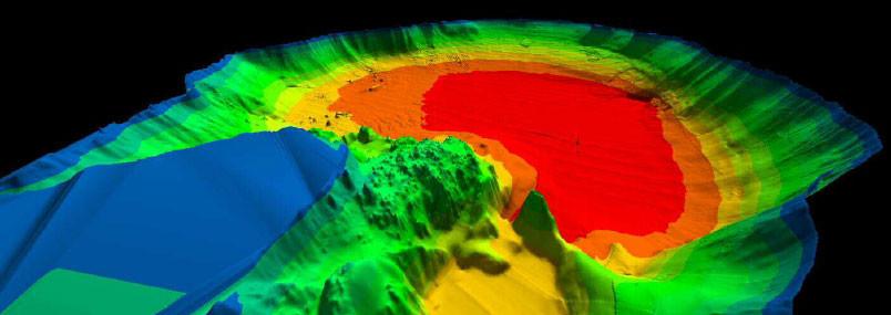 Visualización 3D del lago de Coatepeque