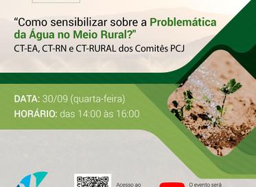 """""""Como Sensibilizar Sobre a Problemática da Água no Meio Rural?"""" é tema de webinar dos Comitês PCJ"""