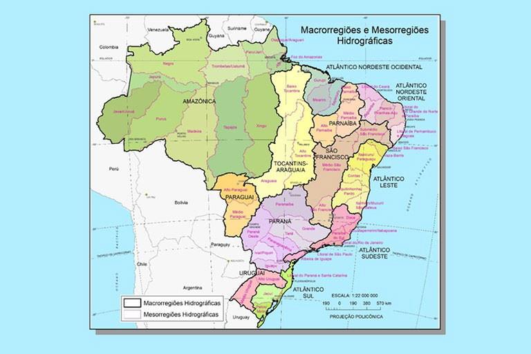 Macrorregiões e Mesorregiões Hidrográficas – 1º e 2º níveis da DHN250