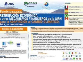"""Foro Internacional """"Redistribución económica y otros mecanismos financieros de la GIRH para la"""