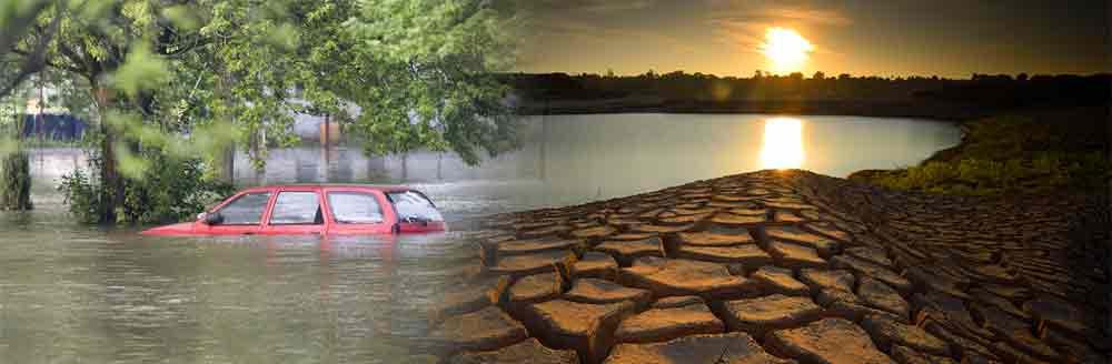 Inundações arrasadoras e secas prolongadas são eventos da água desencadeados pelo clima.
