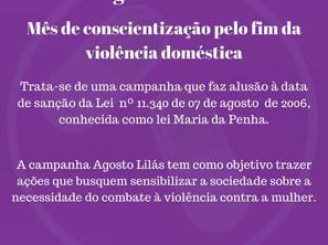 Agosto Lilás: contra a violência doméstica