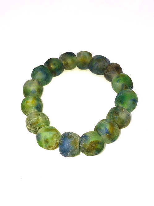 Blue/Green Mix Bracelet - African Recycled Sea Glass Beads From Ghana