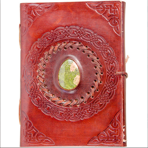 Leather Journal with Stone (assorted stones)