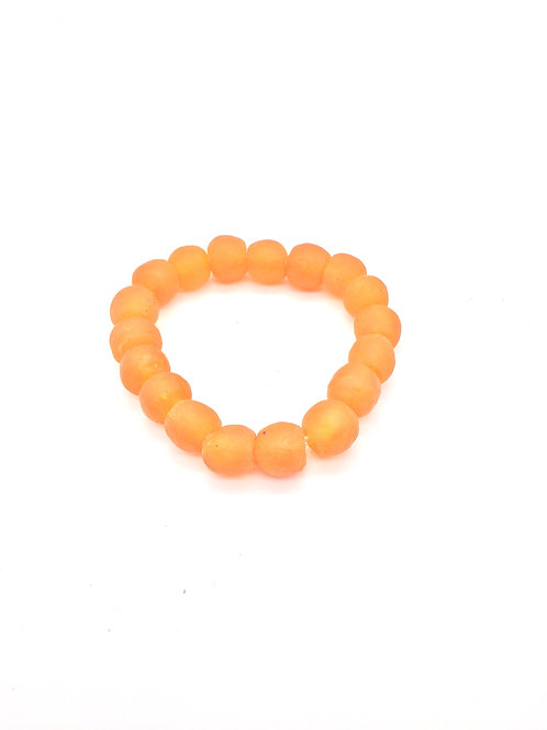 Sunset Orange Bracelet - African Recycled Sea Glass Beads From Ghana