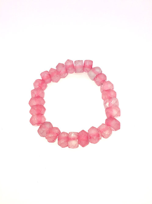 Tulip Pink Bracelet - Beveled African Recycled Sea Glass Beads From Ghana