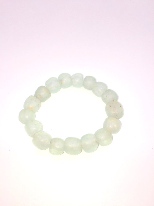 Crystal Clear Mint Bracelet - African Recycled Sea Glass Beads From Ghana