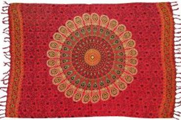 Sarong - Peacock, Red 44x72