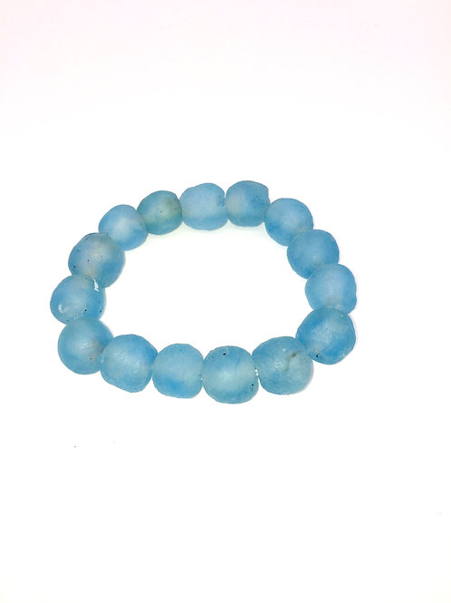Aquamarine Bracelet - African Recycled Sea Glass Beads from Ghana