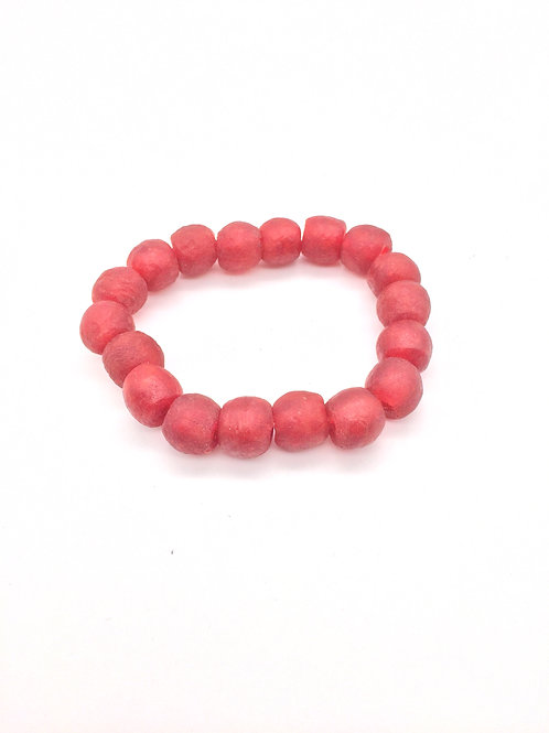 Red Bracelet - African Recycled Sea Glass Beads From Ghana