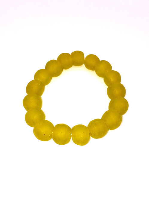 Corn Yellow Bracelet - African Recycled Sea Glass Beads From Ghana
