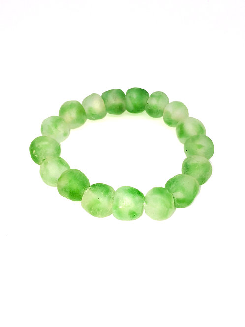 Crystal Green Bracelet - African Recycled Sea Glass Beads From Ghana