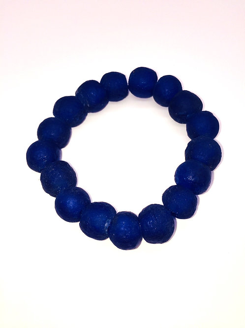 Cobalt Blue Bracelet - African Recycled Sea Glass Beads From Ghana