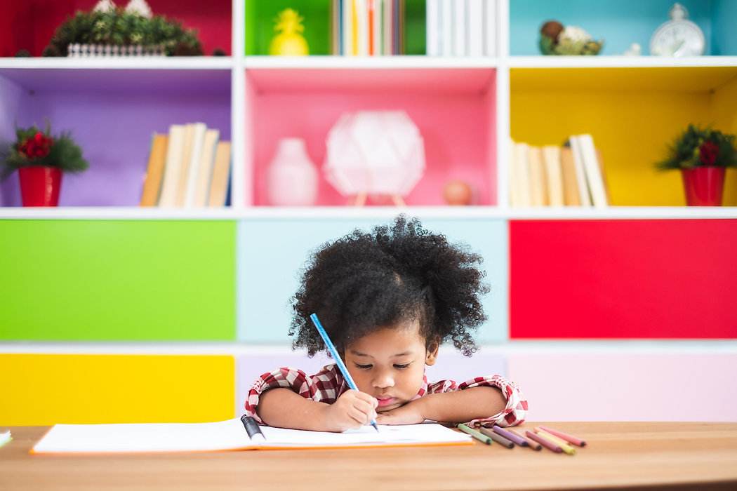 African-cute-kids-studying--at-home,-kid