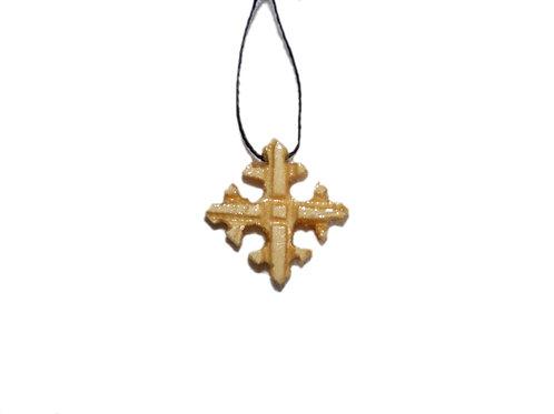 Pendentif  croix en bois avec fil noir
