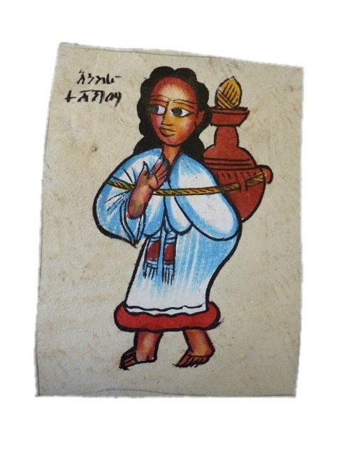 Peinture sur peau à encadrer format carte postale