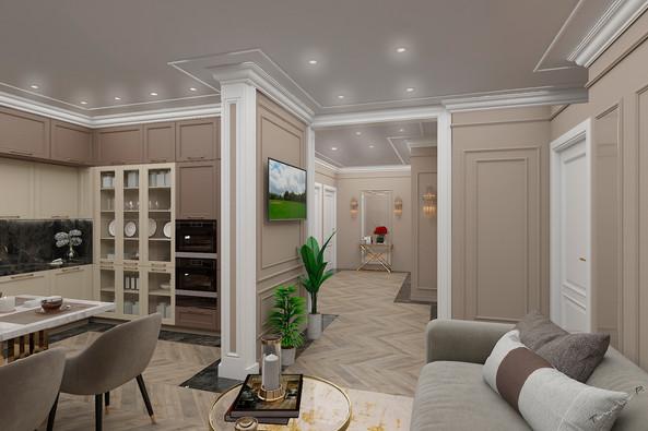 Изысканная квартира с общей кухней-гостинной