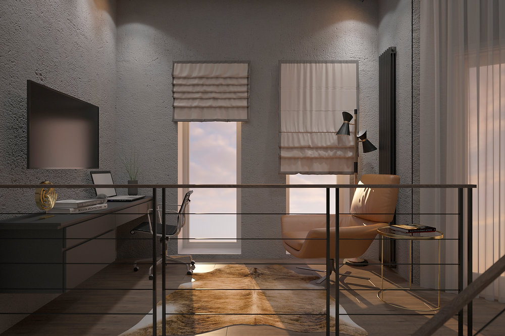 кабинет на втором уровне квартире