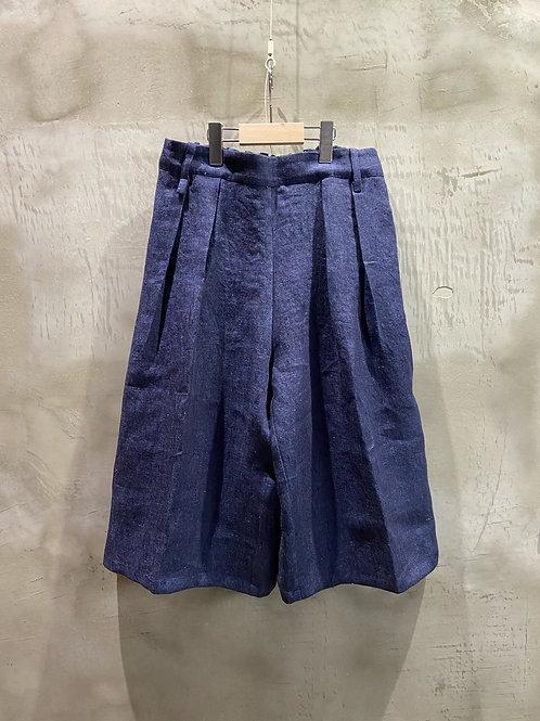 back gum 2tuck shorts linen denim
