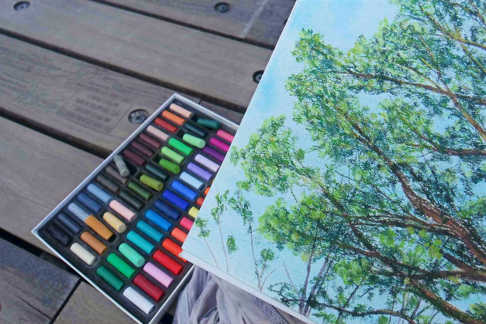 Pastel crayons and the corner of a pastel drawing of shrubs